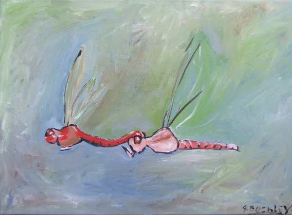 Graeme Buckley Two Dragonflies Mating $300 45 x 50 cm Acrylic on Canvas