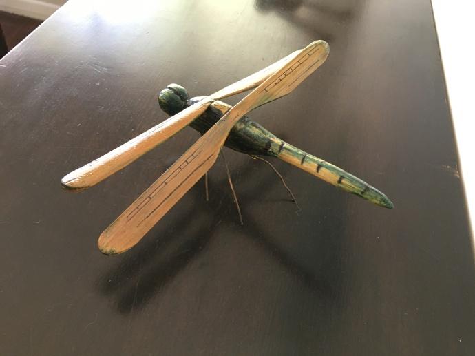 19 Graeme Buckley Blue Dragon fly $300 8cm x 22 x 29 Wood and Copper